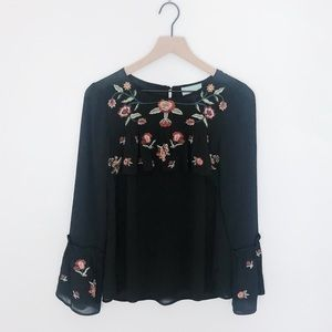 Skies Are Blue Anthro Floral Embroidered Top